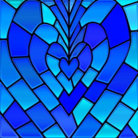 abstract vector stained-glass mosaic background - blue heart