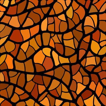 multi colors: abstract vector stained-glass mosaic background - orange and brown