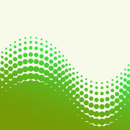 abstract vector halftone background - green and yellow wave