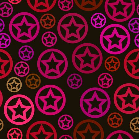 estrellas moradas: vector seamless pattern - purple stars in circles on brown background