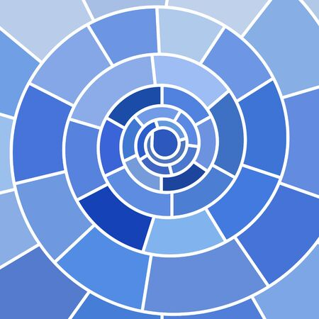 blue spiral: abstract vector stained-glass mosaic background - blue spiral