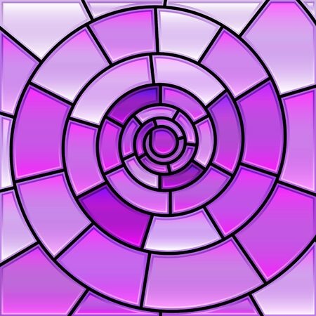abstract vector stained-glass mosaic background - violet spiral