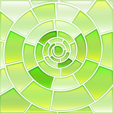 Abstract vector stained-glass mosaic background - light green spiral