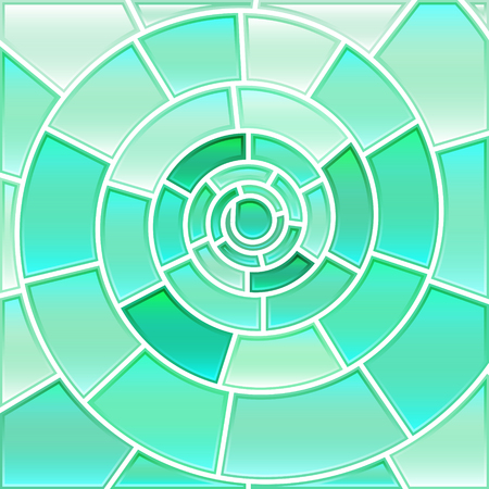 abstract paintings: abstract vector stained-glass mosaic background - light blue spiral