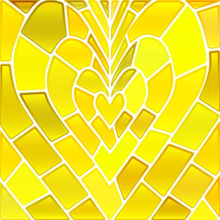 Abstract vector stained-glass mosaic pattern - yellow heart Illustration