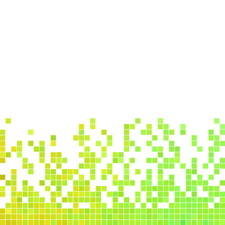 abstract paintings: Abstract vector square pixel mosaic pattern - green