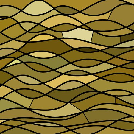abstract paintings: abstract vector stained-glass mosaic background - brown waves