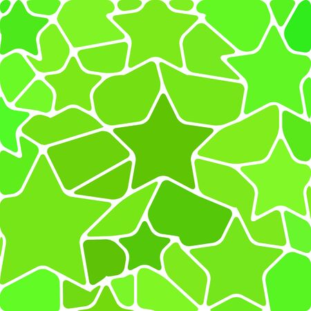 abstract vector stained-glass mosaic background - green stars Illustration