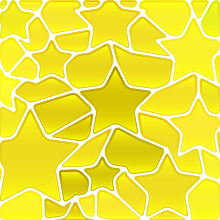 abstract vector stained-glass mosaic background - yellow stars Illustration