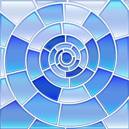 abstract vector stained-glass mosaic background - light blue spiral