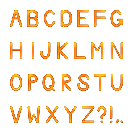 vector shiny bright colored letters set - orange