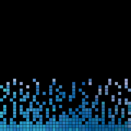 abstract vector square pixel mosaic background - blue on black background