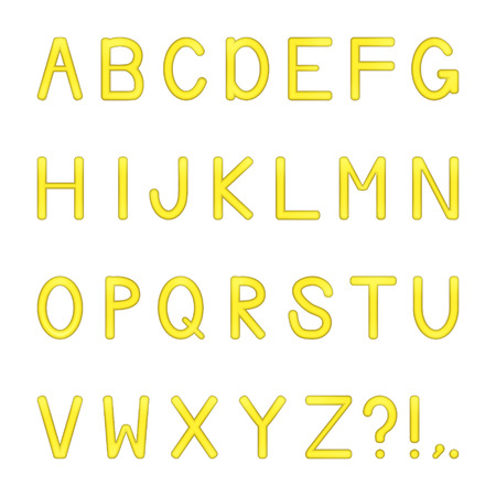 vector shiny bright colored letters set - yellow Illustration