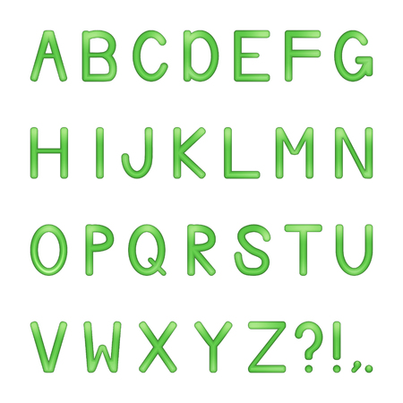 hitech: vector shiny bright colored letters set - green Illustration