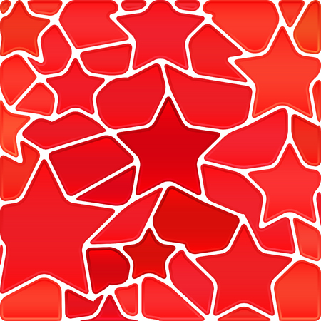 Abstract vector stained-glass mosaic background - red stars