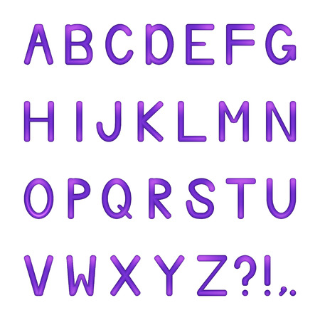 vector shiny bright colored letters set - violet