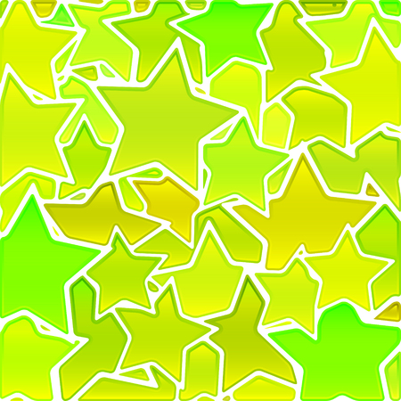 abstract vector stained-glass mosaic background - yellow and green stars Illustration