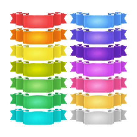 isolated vector colored satin ribbons set Illustration