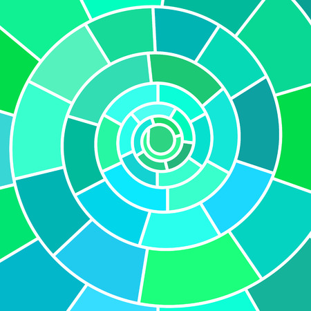 abstract vector stained-glass mosaic background - teal spiral