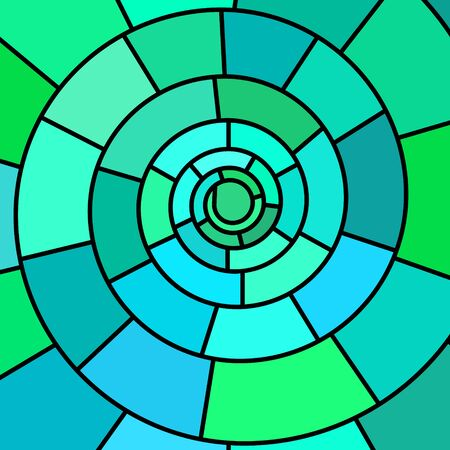 interior decoration: abstract vector stained-glass mosaic background - teal spiral