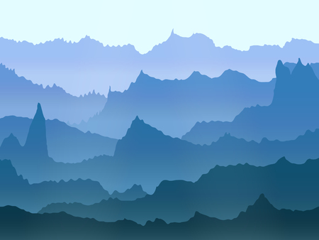 abstract vector watercolor misty mountains landscape Illustration