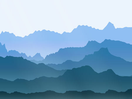 smoky mountains: abstract vector watercolor misty mountains landscape Illustration