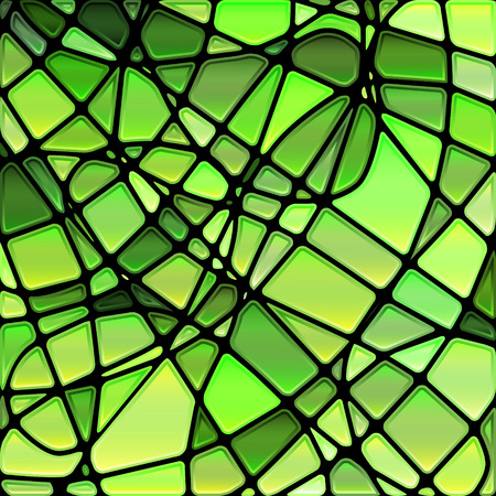 interior decoration: abstract vector stained-glass mosaic background - bright green Illustration