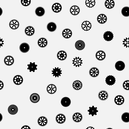 steel industry: abstract vector black flat gears seamless pattern Illustration