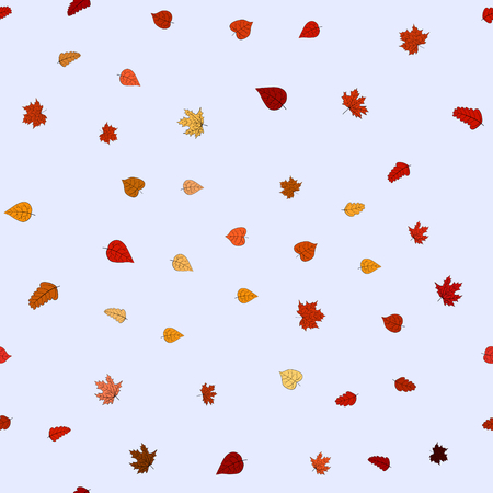 violet red: abstract vector doodle autumn leaves seamless pattern