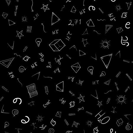 mathematics: School doodles pattern. Illustration