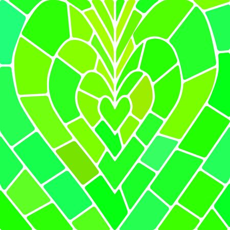 abstract vector stained-glass mosaic background - green heart