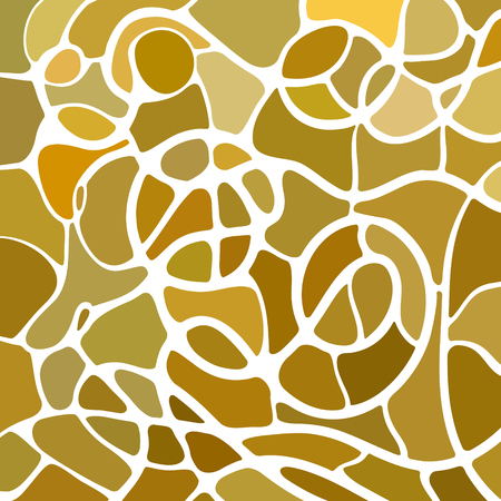 Abstract vector stained-glass mosaic background - yellow and brown Illustration