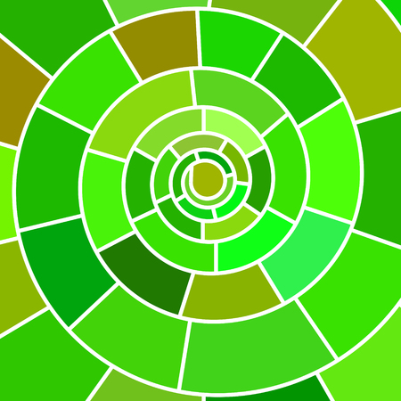 abstract vector stained-glass mosaic background - green spiral Illustration