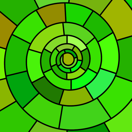 Abstract vector stained-glass mosaic background - green spiral