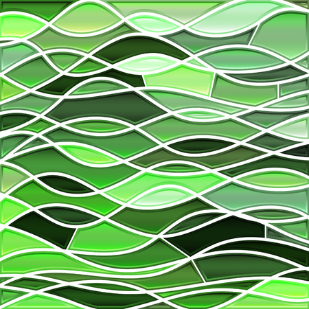 abstract vector stained-glass mosaic background - green waves