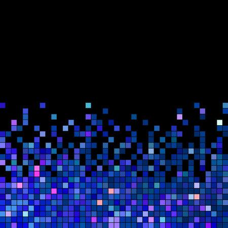 abstract vector vierkante pixel mozaïek achtergrond - blauw Stock Illustratie