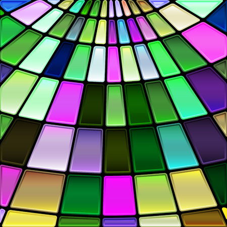 Abstract vector stained-glass mosaic background - green and violet.