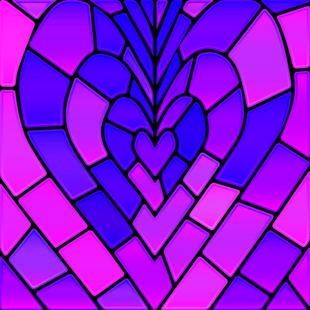 Abstract vector stained-glass mosaic background - violet heart