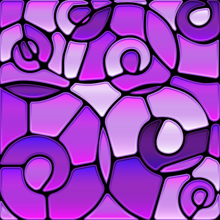 Abstract vector stained-glass mosaic background - violet spirals Stock Vector - 91777501