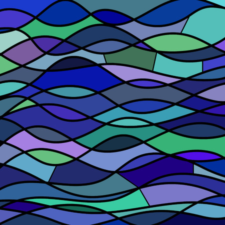 Abstract stained-glass mosaic blue, green and violet waves. Vettoriali