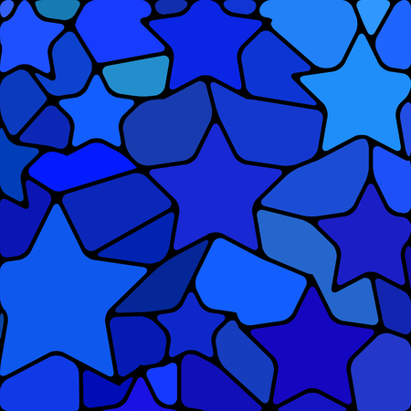 abstract vector stained-glass mosaic background - blue stars
