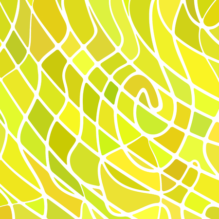 Abstract vector stained-glass mosaic background in green and yellow.