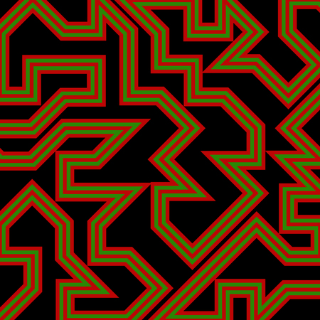 Abstract vector background with stripes pattern - red and green on black background