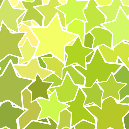 Abstract vector stained-glass mosaic background - green stars
