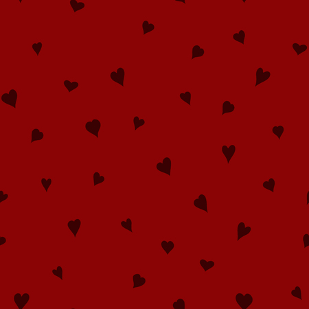chaotic vector red doodle hearts seamless pattern - for Valentines day
