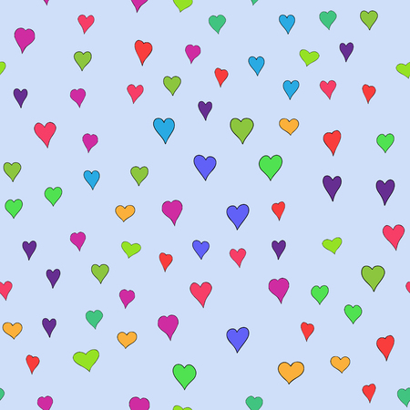 chaotic vector colored doodle hearts seamless pattern - for Valentine's day Stock Illustratie