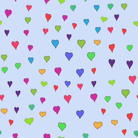 chaotisches Vektor farbiges Gekritzelherzen nahtloses Muster - für Valentinstag Vektorgrafik