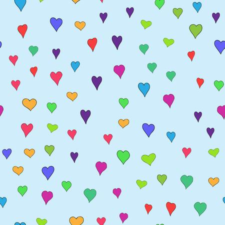 chaotisch gefärbtes Gekritzelherzen nahtloses Muster - für Valentinstag Vektorgrafik