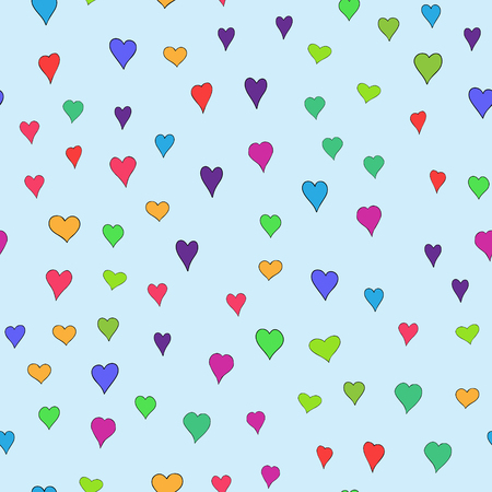chaotic colored doodle hearts seamless pattern - for Valentine's day