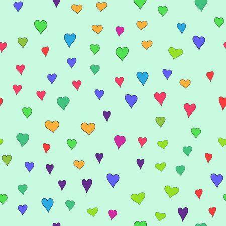 chaotic vector colored doodle hearts seamless pattern - for Valentines day
